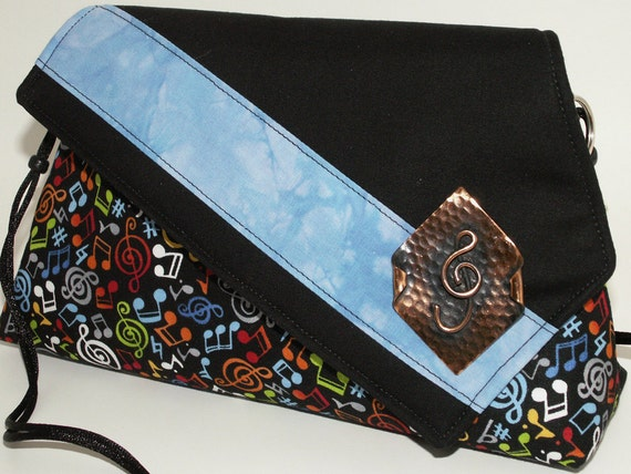 Handmade cotton shoulderbag purse. Music notes. Red, white, yellow, blue, black green. Music Artisan Bag by Lella Rae on Etsy