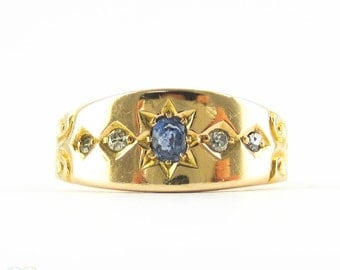 Antique Victorian Sapphire & Diamond Ring, Star Burst Design Engraved 15ct Gold Ring with Chester 1895 Hallmarks.