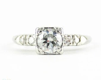 Vintage Transitional Cut Diamond Engagement Ring, Platinum Set Diamond Ring. 0.60 ctw. Circa 1920s.