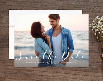 Save the Date Photo Cards Modern Script