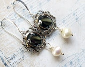 Smoke and Mirrors, Vintage Hematite in Lace Edged Silver Setting & Genuine Wire wrapped Pearl , Assemblage Earrings, Hollywood Hillb