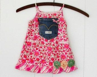Prairie Girl,Altered Pink Floral & Denim 12-18 months Sundress,Vintage Lace,Denim Pocket Girls Upcycled,Wild Hollyberry,Hollywood Hillbilly