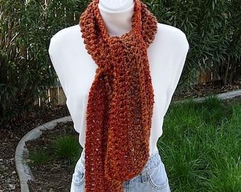 Burnt Orange Rust, Dark Brown, Gold Scarf, COLOR OPTIONS, Handmade Winter Soft Crochet Knit, Lightweight, Regular, Ready to Ship in 3 Days