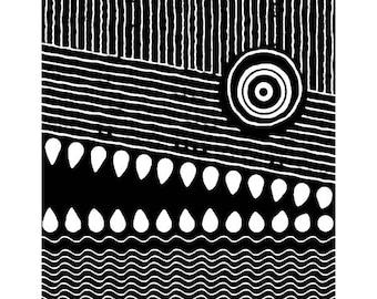 Abstract alligator print black and white surreal crocodile drawing wall decor animal illustration print room decor wall art alligator art