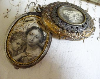 AMAZING Vintage Virgin Mary Reliquary Slide Locket