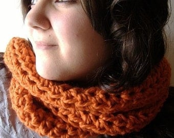 Cowl Neckwarmer Infinity Scarf Wrap in Pumpkin Orange