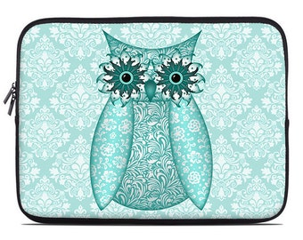 Owl Laptop Sleeve, turquoise, aqua laptop case, laptop cover, to fit 10, 13, 15, 17 inch, computer sleeve