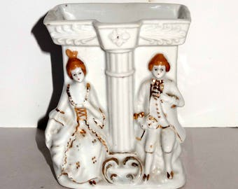 Made in Japan Victorian Man and Woman Planter Porcelain with Gold Leaf Home and Garden Lawn and Garden Gardening Pots and Planters
