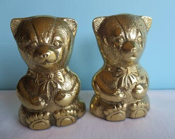 Vintage Solid Brass Bear Bookends