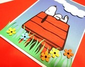 Handmade Card - Snoopy on Doghouse Birthday, Get Well, Congrats, Thank You