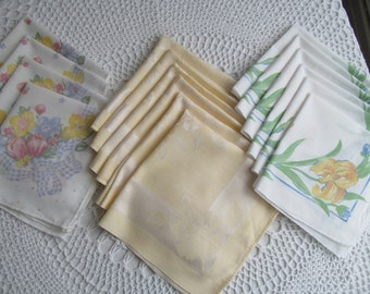 Vintage Cloth Napkins Yellow Damask Spring Flowers Roses Kitchen Linens Large Lot of 16 Mismatched