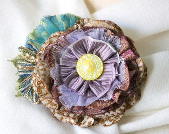 Gifts for Women, Fabric Flower Pin, Friend Gift, Lavender Wedding, Mother of the Bride Corsage, Flower Brooch, Scarf Pin, Shawl Pin