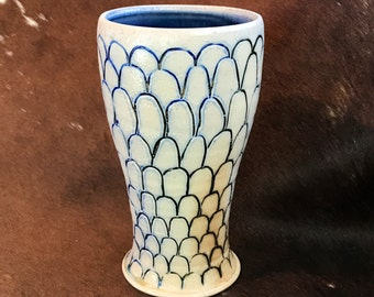 Wood Fired Tumbler with Carved Pattern, Blue and Gray Ceramic Cup, Handmade, Wheel Thrown Tumbler, Pint Glass with Slip Inlay.