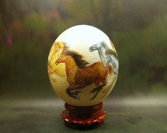 Eight Horses/ Hand Painted Ostrich EggShell/ Ostrich Egg Art/ for special order