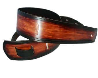 Guitar strap - leather guitar strap - brown guitar strap - bass strap