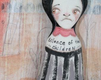 OOAK Goth Art Doll Girl Macabre Morose Dark Sad Survivor Bully Child Abuse Softie Stuffed Handmade