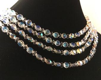 Aurora Borealis Necklace, Vintage Jewelry, Vintage Necklace, Vintage Choker Necklace, Multi Strand Crystal Bead Necklace, Crystal Choker