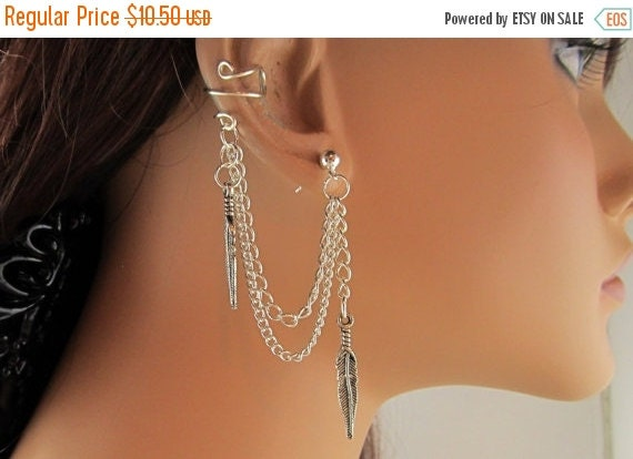 On Sale Ear Cuff With Double Chain Silver Feather and Earring Gift Under 15