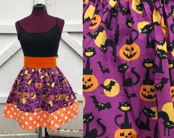 Halloween black cats skirt, pumpkins, purple, orange, polka dots, yellow moons, small/medium