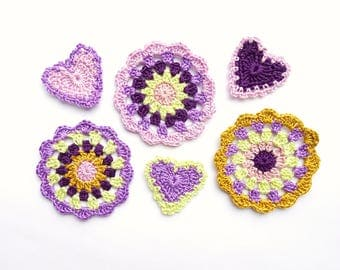 Purple mandala circles with hearts applique - crochet mandala decorations - lilac home decor - set of mandalas for DIY project - set of 6