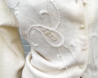 Vintage 50s Cream Ivory Beaded Sweater lamdswool white  medium large