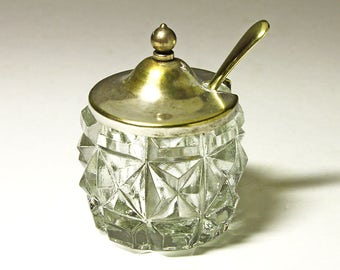 Vintage Glass and Silver Plated Salt Cellar with Spoon, Made in England - circa 1940's
