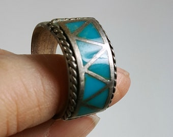 Vintage Native American Ring Turquoise Geometric Triangle Ring Sterling Silver Size 9.25