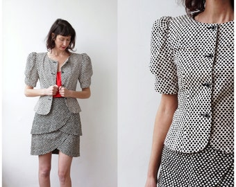 1980s Rickie Freeman Teri Jon Black Skirt Suit Outfit Blazer and Skirt Petal Tiered Skirt and Jacket Black and White Small Medium