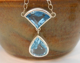 "Topaz Genuine Upcycled Blue Gemstone Sterling Silver Pendant 18"" Chain November Birthstone"