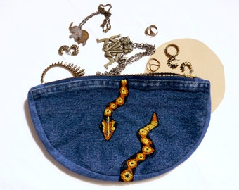 Charmed - Hand Embroidered Denim Revival Half Moon Zip - recycled jeans patchwork pouch with zipper, fully lined