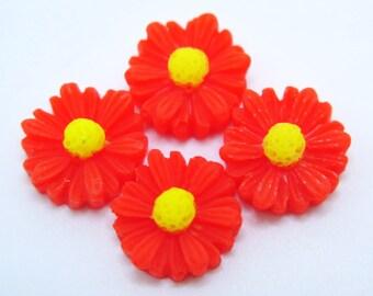 4PCS - Daisy Flower Cabochons - 12mm - Red Daisy Cabochons - Red Flower Cabochons