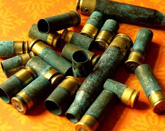 1/4 Pound of Half Patina Brass BULLET Shell Casing - DRILLED  - 9mm, 11mm, 12mm, 38 Special Verdrigis Gun Shells 1/4-MxHP