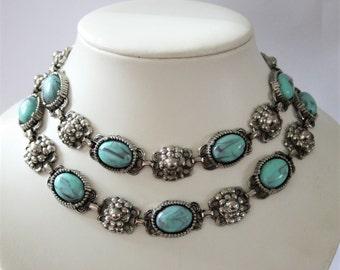 Vintage faux turquoise necklace. 2 row necklace