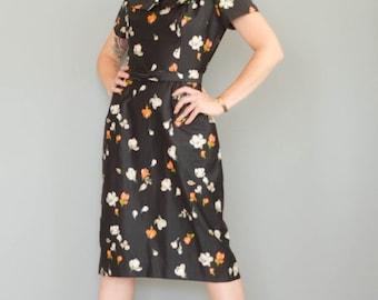 Birthday Sale - Vintage 1950's Black Floral Polished Cotton Dress