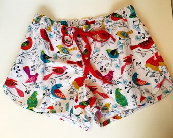 Fun and Colorful Sleep Shorts/Michael Miller Flock Pattern Fabric/Size Medium