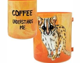Ocelot Coffee Mug Orange Cup by Pithitude