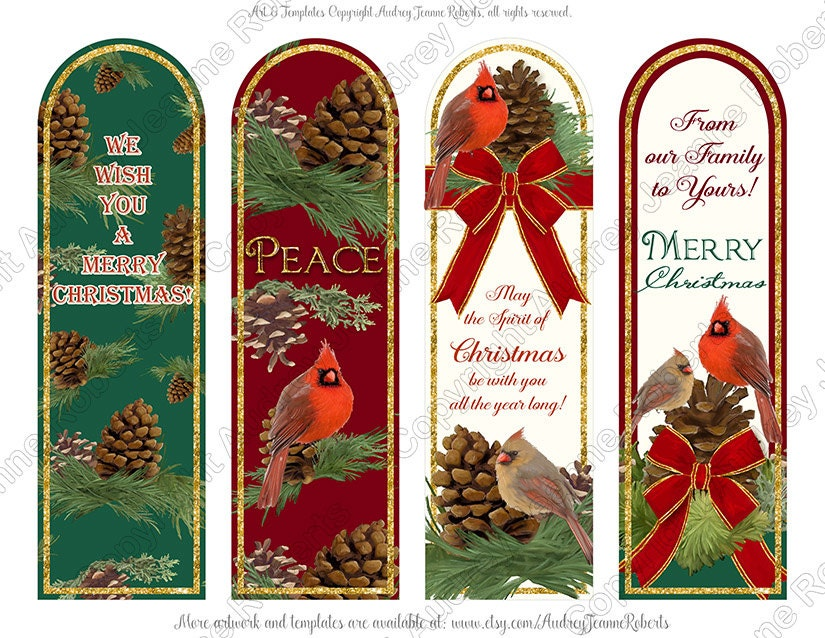 This Is A Digital File  Christmas Bookmark Templates