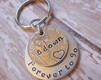 5 Years Down and Forever To Go Wedding Anniversary Key Chain with Heart Stamped Around 2012 Date on Nickel / Gift for Him or Her