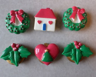 Christmas  Button Covers  Mixed Group Of 6 Colorful  Ugly Sweater