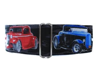 2 Inch Martingale Collar, Hot Rod Martingale Collar, Race Car Martingale Collar, Hot Rod Dog Collar, Large Dog Collar