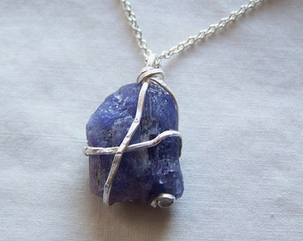 Blue Violet Tanzanite Raw Gemstone Crystal Pendant