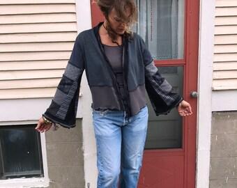 Patchwork  Cropped Wrap Jacket,size S/M, kimono jacket, eco clothing,festival jacket,hippy jacket, striped  jacket,  black jersey wrap Zasra