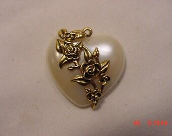 Vintage Mother Of Pearl Look Heart Pendant With Raised Metal Flower Design   16 - 699