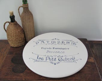 Stenciled Lazy Susan, French Themed Cream Turntable, Kitchen Decor