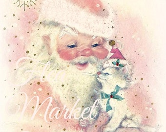 Mid Century Christmas Image-SANTA and Kitty-Shabby-Chic-Retro-Christmas Gift Tags