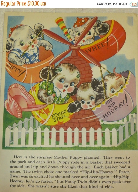 ON SALE Vintage Ruth Newton Childrens Nursery Rhyme Book Print-Puppies Ride-Book Plate