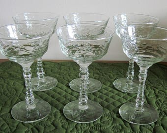 6 Vintage Libbey Rock Sharpe Champagne/Tall sherbets In Arctic Rose Pattern