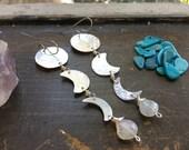 Moon phase earrings, moonstone drop earrings, lightweight metal moon and turquoise dangle earrings