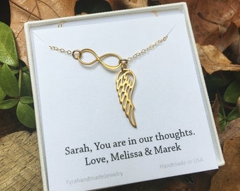 Gold Infinity Angel Wing necklace,infinity Y necklace,Memory wing necklace,anniversary necklace,Bridesmaid gifts,,Wedding bridal Jewelry