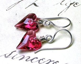 ON SALE Wild Heart Swarovski Crystal Earrings in Indian Pink- Handmade with Sterling Silver and Swarovski Crystal